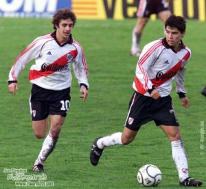 Former River Plate stars Pablo Aimar and Javier Saviola are reunited at Benfica